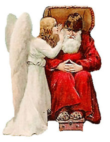 Vintage Christmas Clipart - Angel Whispering to Santa Claus