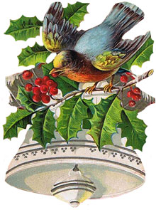 Vintage Christmas Clipart - White Bell with a Bluebird and Holly