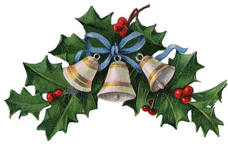 Vintage Christmas Clipart - Three White and Gold Bells in a Holly Wreath