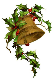 Vintage Christmas Bells Clipart - ouro com Holly
