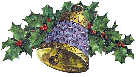 Vintage Christmas Clipart - Gold Bell with Holly and Blue Forget-Me-Nots