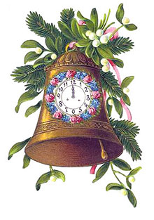 Vintage Christmas Bells Clipart - Gold Bell com um relógio e ramos de azevinho e visco
