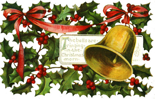 Vintage Christmas Clipart - Holly and Gold Bell