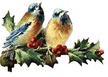 Vintage Christmas Bluebirds Clipart