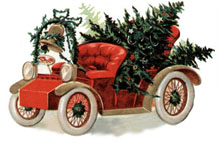 Vintage clipart - Christmas Car with Tree in the back