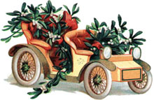 Vintage clipart Christmas Car filled with Christmas Plants