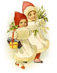 vintage two children with hats and holly - Vintage Christmas Gifts