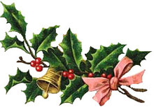 Vintage Christmas Clipart - Holly Wreath with a Pink Bow