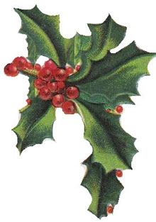 Free Christmas Clipart: Vintage Holly