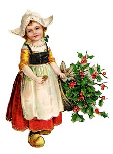 Vintage - Young Girl with Apron and Basket of Holly