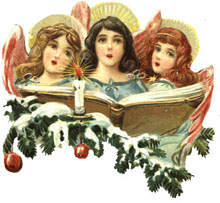 Vintage Christmas Clipart - Angels Singing Christmas Music