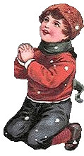 Vintage Santa Claus Clipart - Young Boy Praying