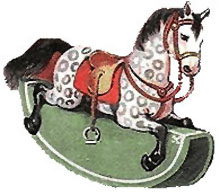 Vintage Santa Claus Clipart - Christmas Rocking Horse