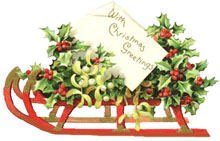 Vintage Christmas Clipart - Sleigh with holly and mistletoe
