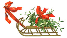 Vintage Christmas Clipart - Santa's Sleigh with holly and ribbons