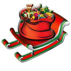 Vintage clipart - Sleigh with gifts
