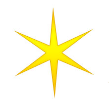 Christmas star six point gold