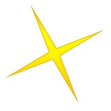 Modern xmas trees - Christmas star four point gold