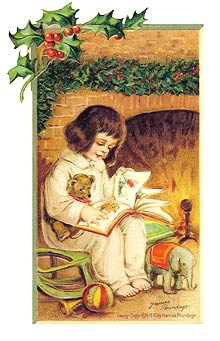 Vintage - Child Reading Christmas Story