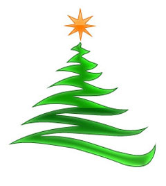 Christmas Tree Clipart - Modern with Gold Christmas Star