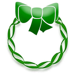 Christmas Wreath with Green Bow and Ribbon