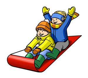 Christmas Clipart: Kids on Sled
