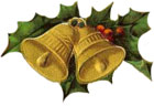 Christmas Clipart - Gold Vintage Christmas Bells with Holly
