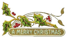 Vintage - Bough of Holly with Red Berries around a sign