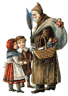 Vintage Christmas Clipart - Brown Robed Santa Claus with Children