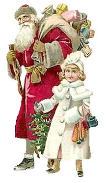 Vintage - Santa Claus and young girl