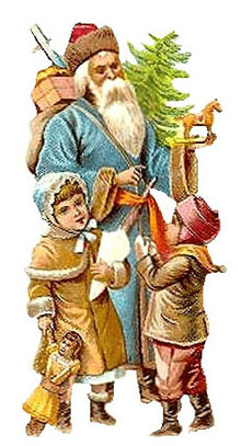 Vintage - Santa Claus in blue suit with children