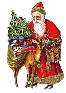 Santa Claus with reindeer and sack of toys