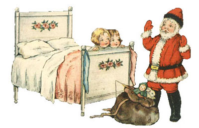 Vintage Christmas Clipart - Two Little Children in Bed watching Santa Claus with his Bag of Gifts