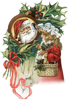 Vintage - Santa Claus looking through hole