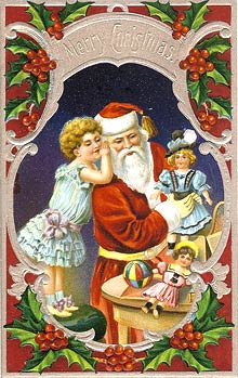 Victorian Free Christmas clipart - Santa Claus in fancy frame of holly