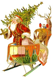 Vintage Christmas Clipart - Santa Claus with Sleigh and Reindeer
