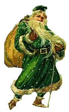 Vintage - Santa Claus in Green Suit