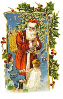 Vintage Christmas Cross Clipart - Santa Claus Card