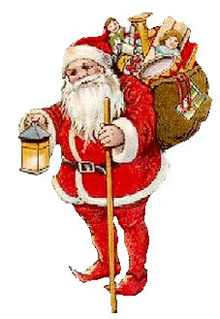 Vintage Christmas Cross Clipart - Santa Claus with sack and lantern