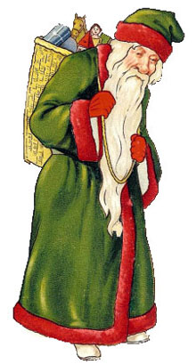 Vintage - Santa Claus green suit with red trim