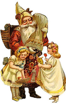 Vintage - Santa Claus giving gifts to children