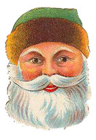 Vintage Christmas Cross Clipart - Santa Claus portrait green hat