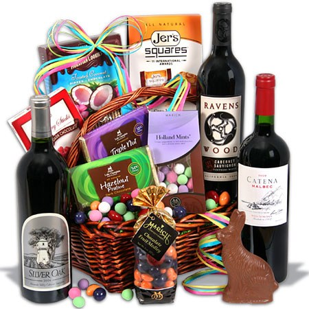 Easter gift baskets not just for kids christmas gifts this is a collection of milk and dark chocolates and your choice of sumptuous red wines creating an easter wine basket full of healthy antioxidants negle Images