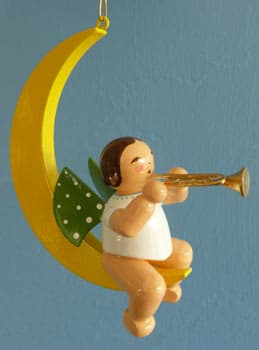 Tree Ornament Angel Sitting in Moon with Trumpet
