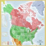 USA and Canada Wall Map