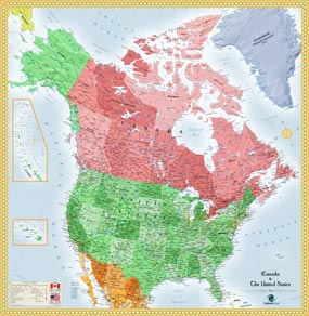 And Canada Wall Map - Us and canada political map