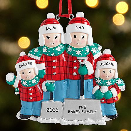 Snow Shovel Family Ornament