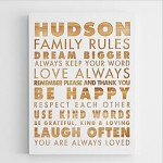 Personalized Family Rules Wooden Wall Art