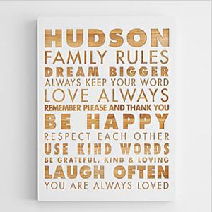 Family Rules Wall Art personalized family rules wooden wall art | christmas gifts