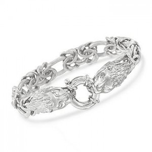 Double Lions Head Byzantine and Oval Link Bracelet in Sterling Silver. 7.5""
